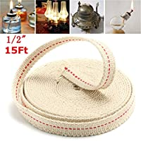 FEVERWORK EsportsMJJ 1/2 Inch Flat Cotton Wick 15 Foot Oil Lamps and Lanterns Cotton Wick 4.5M Length