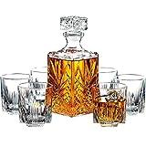 Décanteur et verres à whisky, ensemble 7pièces en verre italien, élégants, décorés, avec bouchon - Paksh Novelty