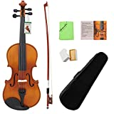 Dilwe 4/4 Akustische Violine, Ahorn Holz Violine Set für Anfänger mit Tragetasche, Bogen, Kolophonium, sauberes Tuch