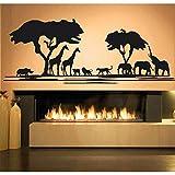 yiyiyaya Afrique Savane Animal Arbre Sticker Décor À La Maison Salon Africain Zoo Pépinière Enfants Chambre Décor Jungle Animaux Autocollants Blanc 120X42 CM