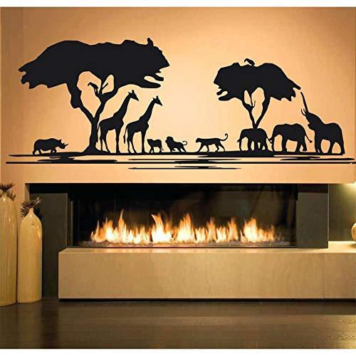 yiyiyaya Afrika Savanne Tier Baum Wandtattoo Wohnkultur Wohnzimmer African Zoo Kindergarten Kinderzimmer Dekor Dschungel Tiere Aufkleber lila 163X57 cm (Dschungel-tier-vasen)