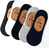 PINKIT (Pack Of 5) Premium Mercerised Anti Slip Cotton Loafers No Show Socks For Men, Women, Boys & Girls , Anti-slip Silicone Technology | Unisex Cotton Socks Liners For Daily Use & Sports | Fits Upto UK Size 10, US Size 12 & Euro Size 45 | P
