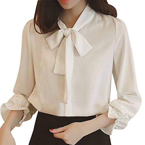 Crochet Floral Cardigan (Fghyh Damen Sweatshirt Langarm ShirtFrauen Lace-up Solide Langarm Chiffon Floral Arbeit Fliege Shirt Top Bluse(XXL, Weiß))
