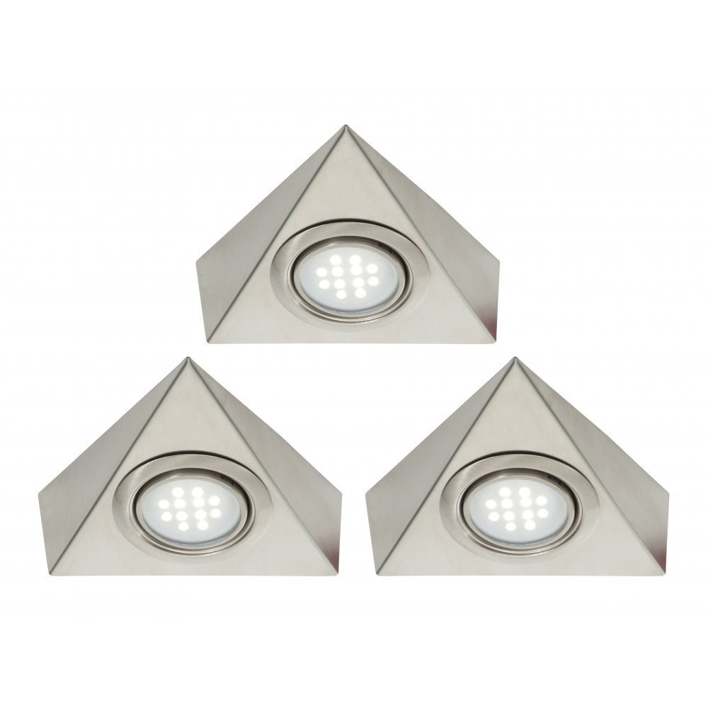 Pack Of 3 Triangle LED Under Cabinet Light Kit With Transformer   White LED:  Amazon.co.uk: Lighting