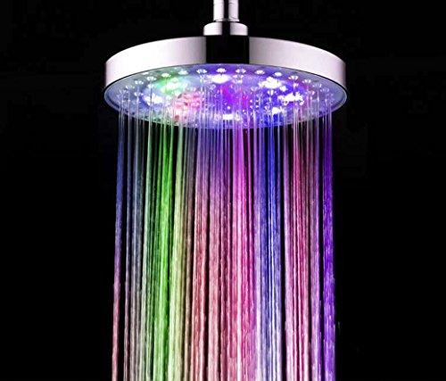 Preisvergleich Produktbild Duschen Wasserhahn LED-Kopfbrause mit Wasser-Flow-Flash-Duschkopf 8 Zoll ABS-Beschichtung