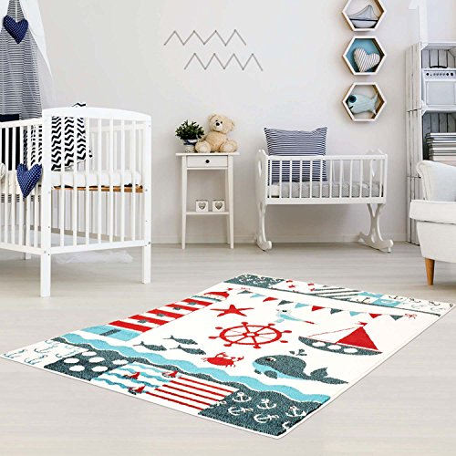 Kinderteppich Moda Kids Seefahrt Anker Schiff Multi Kinderzimmer 140x200 cm