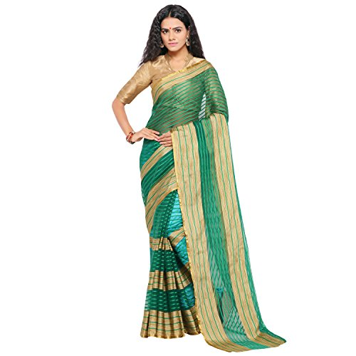 sarvagny clothing art silk green color daily wear party wear saree with...