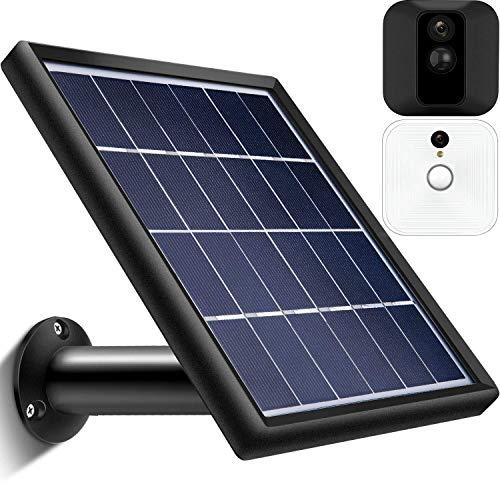 Solar Panel Energieversorgung Kompatibel mit Innen und Außen Blink XT Überwachungskamera, Wasserdicht, Einstellbare Halterung, Kontinuierliche Energieversorgung (12 Fuß/ 3,6 m Kabel) (Schwarz)
