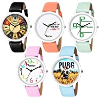 Foxter Pack of 5 Multicolour Analog Analog Watch for Men and Boys