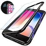 iPhone 7 8 Plus Hülle,Magnetische Adsorption Handyhülle mit Eingebauter Magnet Funktion, Ultra Dünn Tempered Glass Back Case für Apple iPhone 7 Plus/8 Plus (Transparente Rückseite,Schwarze Bumper)
