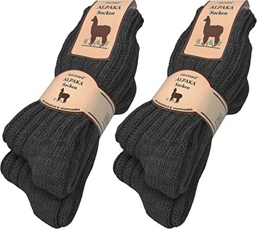 normani 4 Paar sehr Dicke Flauschige warme Alpaka Socken - mit Alpakawolle Farbe Anthrazit Größe 43/46 - Herren Alpaka