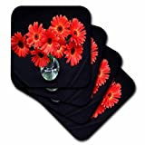 Florene Blumen – Rot Orange Gerberas in Vase – Untersetzer, Gummi, Orange, set-of-4-Soft