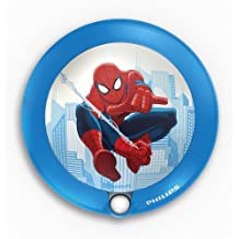 Philips Marvel Spiderman - Luz nocturna con sensor, luz blanca cálida, bombilla LED de 0,06 W, color azul