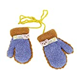Kinder Handschuhe Winter Fäustlinge Jungen Mädchen Fausthandschuhe Fingerlos Strickhandschuhe mit Fleecefutter Dicke Fäustel Schnee Handschuhe für 0-3 Jahre Alt, Dunkelblau,