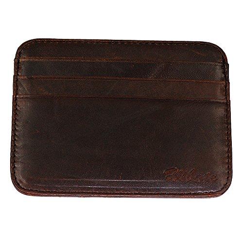 Hibate Vintage-Stil Büffelleder Kreditkartenetui Visitenkartenetui Kreditkartenhüllen Kartenetui - A_Braun (Wallet Card Leder)