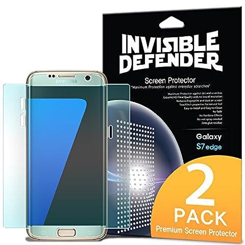 Ein Screen Protector, Invisible Defender [vollständige Abdeckung] [2er-Pack] gebogene Kante an Kante Seitenabdeckung garantiert [Fall kompatibel] superdünne HD Klarheit Film für Samsung Galaxy S7 Edge