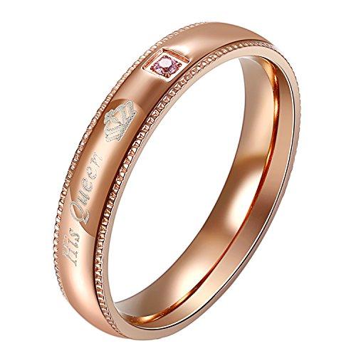 OIDEA Herren Ringe schwarz, Edelstahl Ring mit Her King Stein Ehering Trauringe für Herren-Ring,, Größe 54 (Queen Ring, 47 (15.0))