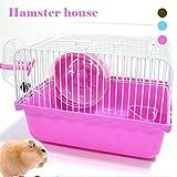 DAHAI FU 1 UNID 1 UNID Mini Idyllic Jaula Pequeña Jaula del Hámster Nest Bowl Wheel Kettle Apoyo Para Pequeño Animal Doméstico Hámster Hamster Mouse Cage (PINK)