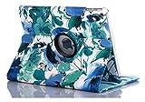threecat Étui intelligent pour iPad Air2chinois Motif peinture Housse avec support rotatif à 360° et fonction veille/réveil automatique pour filles femmes bleu