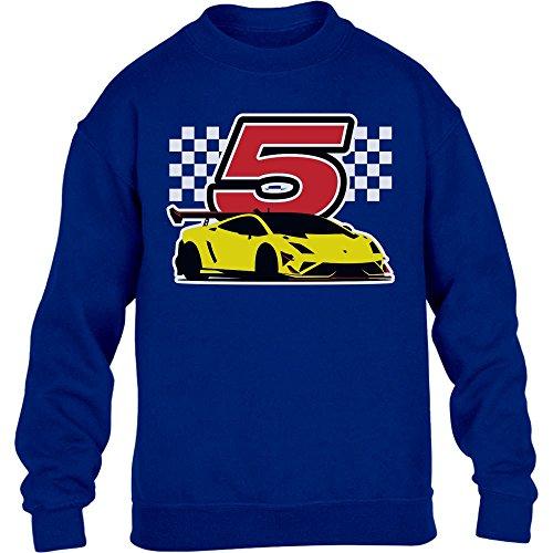 Geschenk für Jungs 5 Geburtstag mit Auto Kinder Pullover Sweatshirt S 122/128 Blau -