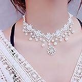 Bigboba Ladies Creative Blanc en dentelle Collier simple mariée Pendentif Tassel Collier ras du cou Colliers pour femmes filles