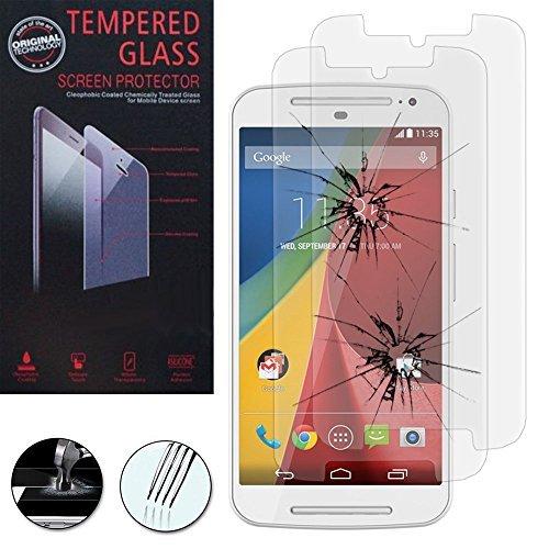 VCOMP® Lot 2 Films Vitre Verre Trempé de protection d'écran pour Motorola Moto G2 II G+1 2014 (2nd gen)/ G2 Dual SIM/ Moto G 4G LTE 2015 XT1072/ 4G LTE 2015 Dual SIM XT1068 - TRANSPARENT
