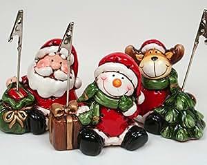 Set di 3 porta carte/porta-foto/segnaposti, pupazzo di neve, Babbo Natale e renne, set di tre in ceramica, personaggi con pinza, laccati a mano, altezza ca. 8 cm