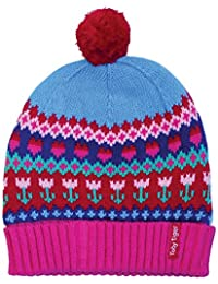 Toby Tiger 100% Cotton outer super cosy fleece lined tulip knitted hat. - Bonnet - Fille