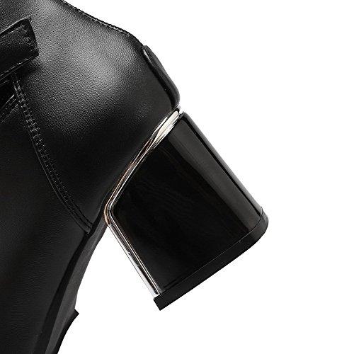 AgooLar Damen Mittler Absatz Niedrig-Spitze Rein Reißverschluss Stiefel mit Schnalle Schwarz