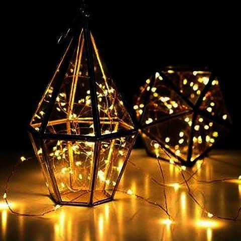 Simfonio LED Lichterkette Dimmbar Kupferdraht Lichterketten Innen und Outdoor 5M 50 LEDs Multi-Color String Lights für Innen, Weihnachten, Garten, Hochzeit, Party ,Haus Dekoration (Warmweiß)