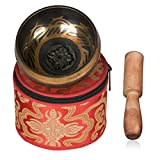Echoice Campana Tibetana Fatto a Mano 9.5cm Ciotole di Canto con Scatola di Immagazzinaggio e Maglio per Meditazione Buddista Yoga Preghiera