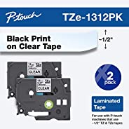 "Brother Genuine P-touch TZE-1312PK Tape, 1/2"" (0.47"") Standard Laminated P-touch Tape, Black on Clea"
