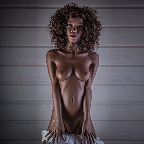 Black Friday Deal+ 2nd Kopf AILIJIA 155cm /5.08ft Silikon lebensechte schwarze Sexpuppe mit kleiner Brust 3 öffnende mündliche Vagina Anus realistische Liebespuppe mit Metallskelett