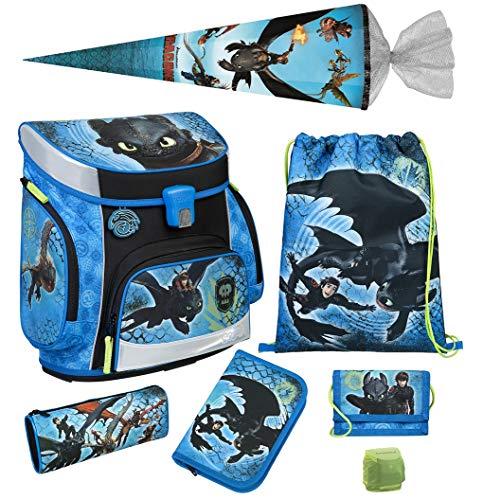 Familando Scooli Schulranzen-Set 7 tlg. Dragons - Drachenreiter von Berg - mit Federmappe, Schultüte 85cm und Regenschutz