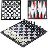 CRMICL Schachspiel Schach mit Deluxe Magnetischem Faltbarem Schachbrett