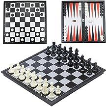 CRMICL Scacchi & Dama & Backgammon Deluxe 3-in-1 Gioco di Scacchi con Scacchiera Pieghevole Magnetica Portatile per Bambini o Adulti, Bianco e Nero, 32*32*2 cm