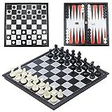 CRMICL Juego de ajedrez magnético de Viaje,Juego de ajedrez 3 en 1...