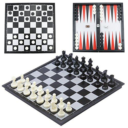 CRMICL Juego de ajedrez magnético de Viaje,Juego de ajedrez 3 en 1 Tablero de ajedrez Plegable magnético para Adulto Juego de ajedrez Plegable para niños Juego de ajedrez Tradicional 12.6 'x 12.6'