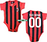 Milan Body Neonato Rossonero Personalizzato Ufficiale A.C (12 Mesi)