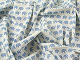 Elefanten Print Baumwolle Popeline Kleid Stoff blau auf,