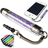 No1accessory new purple crystal shaft stylus pen for iPad Air 2 iPad mini 3 iPad 1 2 3 4, iPad Mini,Apple iPad air,iPad mini with retina display; iPhone 3G 3GS 4 4S 5 5s 5c; iPod Touch 2 3 4 5; HTC One X, One S, SONY XPERIA T3, C3, Z3, Samsung galaxy tab S, Amazon fire phone, Sensation XE XL,X,FIRST,ONE MINI,one max,Desire 300,Desire 601; Samsung Galaxy S1 S2 S3 S3 Mini S4 S4 MINI, S4 Active ,S4 Zoom, S5, Galaxy Note 1 2 3, Galaxy Mini Fit W Y, Ace, Ace Plus, Ace 2, Ace 3 Ace 4; Sony Xperia J P R S T U VX Z, Xperia Ray,Xperia ZR,Xperia M ,Xperia Z Ultra,Z1,E1,Z1 compact; Windows Phone 8S 8X; Nokia Lumia 500 510 520 600 610 620 625 720 800 810 820 900 910 920 925 1020 1320 1520 735,Nokia Asha 311 309 501 503,Nokia Lumia 2520; Samsung Galaxy Tab 2 10.1 P5100 / P5110, Galaxy Tab 2 7.0 P3100 / P3110, Samsung Galaxy Tab 10.1 P7100, Galaxy Tab 7.0 P5200,Galaxy Tab 3, Galaxy Note 10.1 N8000 / N8010,Galaxy NotePRO 12.2 ,Galaxy NotePRO 10.1,Galaxy NotePRO 8.4 SM-P900; Blackberry Playbook; Google Nexus 7, Google Nexus 10; Motorolla XOOM; Kindle Fire, Kindle Fire HD,Kind Fire HDX; Microsoft Surface, Microsoft Surface2, Microsoft Surface PRO, Microsoft Surface PRO2; Dell Streak; Sony Xperia Tablet S; Acer Iconia Tab; Asus Transformer Pad; HP TouchPad, HP Split 13-m200ea x2 Laptop & Tablet 500GB HDD Windows PC, HP Pavilion 13-p106sa x2 Laptop, HP Pavillion X2, HP Omini 10 5600ea 10 inch Tablet, HP 21-k100 slate 21;Apple iPhone 6 & Samsung galaxy Note 4 galaxy Alpha galaxy Mega 2 Exynos 5430 HTC Flyer HTC butterfly 2 and All Other Phones, Tablets and Devices with a Capacitive Touchscreen - Extendable Style - White