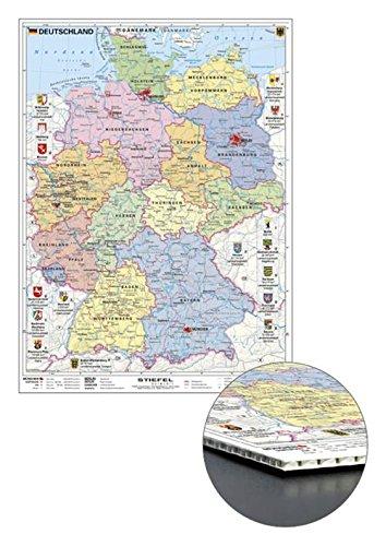 Stiefel EUROCART Deutschlandkarte Deutschland politisch mit Wappen, zum Pinnen, 56 x 76 cm