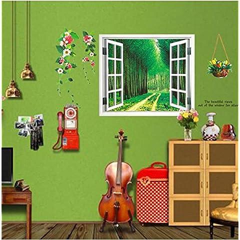 LLHZUO del 2016 nuevas pegatinas de pared DIY 3D Hermosa Ventana Vista del bosque Alley Tapiz Mural Art Decó Sala Infantil decoración decoración de hogar,0037