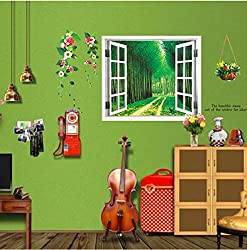 New 2016 New DIY Wall Stickers 3D Beautiful Window View of Forest Alley Wallpaper Art Decor Mural Kids Room Decor Home Decoration 0037