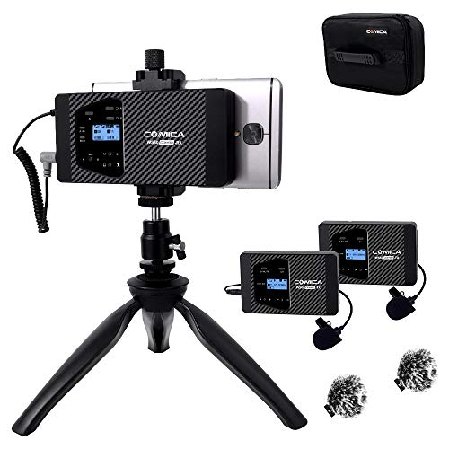Drahtloses Lavalier-Mikrofon Comica CVM-WS60 COMBO 12 Kanäle Professionelles UHF-Dual-Smartphone-Drahtlos-Revers-Mikrofon für iPhone Samsung Android-Telefone, Canon Nikon DSLR-Kameras (RX + 2TX) Dual-telefon