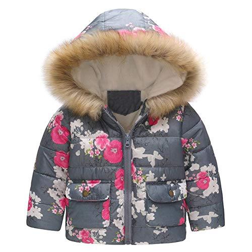 G-Kids Baby Mädchen Winterjacke Mantel Kleinkinder Süß Blume Druck Warme Daunenjacken Trenchcoat Praka Fleecejacke mit Kapuzen Grau 100 -