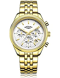 Rotary Men's Quartz Watch with Silver Dial Chronograph Display and Gold Stainless Steel Bracelet GB00351/06