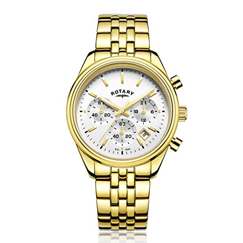 Rotary-Mens-Quartz-Watch-with-Silver-Dial-Chronograph-Display-and-Gold-Stainless-Steel-Bracelet-GB0035106