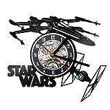 Créatif 3D LED Horloge De RecordThème Modèle d'avion Horloge Murale Creuse Vinyle Record Matériel Antique Style Horloge Suspendue...