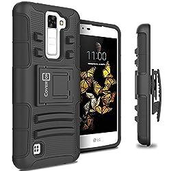 LG K8 Holster Case, LG Escape 3 Holster Case, CoverON [Explorer Series] Holster Hybrid Armor Belt Clip Hard Phone Cover for LG K8 (K350N)/LG Escape 3 Case - Black